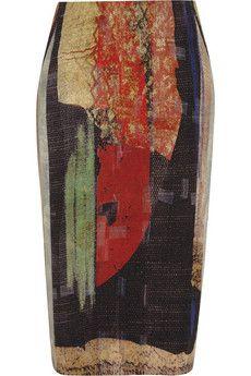 Donna Karan Printed linen-blend pencil skirt | NET-A-PORTER