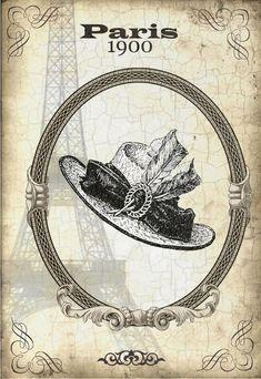 Париж 1900 ... декупажные карты (монохром)