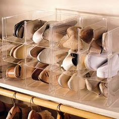 Shoe Storage System  See-through shoe organizers make shoes easy to find.