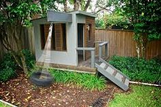 If we ever buy a house with a yard. Modern Wood Playhouse Design Ideas, Pictures, Remodel, and Decor Modern Playhouse, Outside Playhouse, Backyard Playhouse, Build A Playhouse, Backyard Playground, Backyard For Kids, Outdoor Playhouses, Simple Playhouse, Treehouse