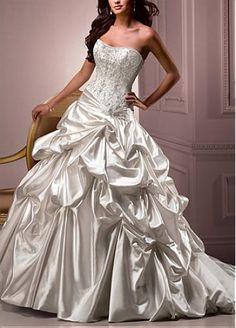 Elegant Exquisite Sain A-line Slightly Sweetheart Neckline Wedding Dress