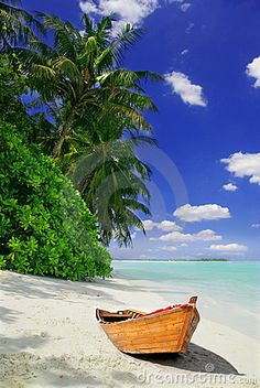 Tropical Maldivian beach with palms and wooden fishing boat.
