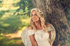 Attractive blonde dressed as an angel