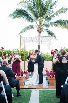 Our Arched Chrysanthemum chuppah easily transports for a destination wedding! How about Palm Beach? Florals by Cameron Keating and photo by Unplugged Photography