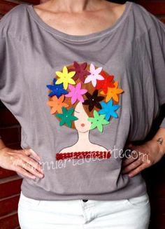 camiseta cubana con aplicaciones de fieltro.  fieltro lavable,telas de algodón aplicaciones a mano.