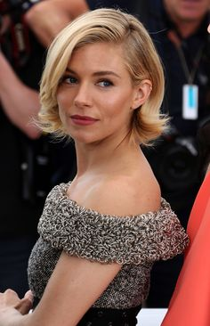 Sienna Miller's Sleek Bob and Red Lip Stain in Cannes