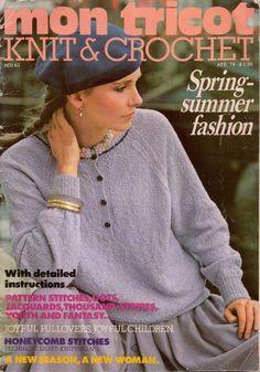 Mon Tricot MD 63 Knitting Crochet Patterns Spring Sweaters Vest Jacket 1979 #MonTricotKnitCrochet #KnittingCrochetPatterns