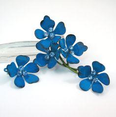 Vintage Shocking Blue Enamel and Rhinestone Flower Brooch and Earrings by VintageCreekside, $18.00