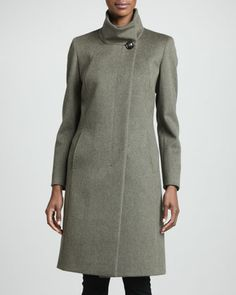 Funnel-Neck Wool Coat, Olive by Cinzia Rocca at Neiman Marcus.
