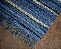 Denim rag rug with yellow handwoven 4 ft X 27 by BackPorchCountry