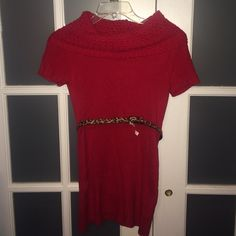 30% OFF BDL Red sweater dress with belt Red sweater dress with cheetah print belt. Short sleeved can be worn off the shoulders. Worn once. Dresses