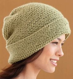 Free Slouchy Hat Knitting Pattern - This slouchy hat by Lion Brand couldn't be cuter or simpler — garter stitch that is knit flat and then seamed.