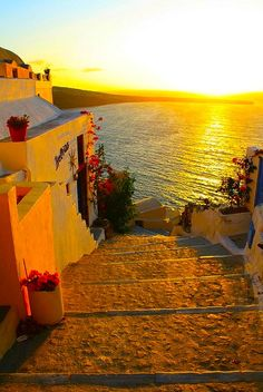 Golden Sunset, Santorini, Greece  photo via sweet