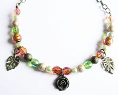 Steampunk Rose Garden Beaded Necklace Antique Bronze Orange and Green OOAK FREE UK Shipping