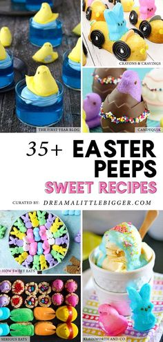Hollow chocolate bunnies aside, Marshmallow Peeps are THE most Easter-y Easter candy I can think of! You, too? Check out over 35 amazingly sweet and adorable Marshmallow Peeps Recipes! #easterpeeps #peeps #eastersweets #eastertreats #easterdesertrecipes
