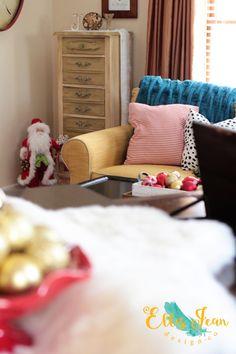 Christmas, Christmas Decor, Holiday Decor, Colorful Decor, Eclectic Decor, Living Room,  Wreath, Cottage Decor, Tudor, Ornaments, Piano Top Decor, Yellow Sofa, Paula Deen