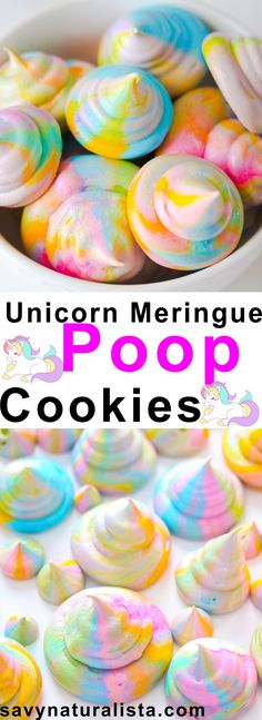 Easy to make meringue cookies in pretty Unicorn Colors for a festive, light, crisp and melt in your mouth meringues – These pretty cookies are gluten free