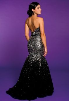 Camille La Vie Sequin Tulle Trumpet Prom Dress. Be an A-list starlet at your Prom!