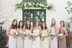 Gorgeous coordinating neutrals in Blush, Champagne, Vanilla, and Truffle.  San Juan Capistrano Wedding from onelove photography