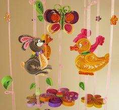 Swarovski Stones Mobile - Cute Baby Mobile - Duck Crib Mobile - Handmade Nursery Mobile - Rabbit Mobile - Butterfly Mobile Flower Mobile 8L