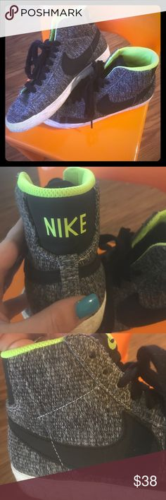 Nike High tops Black/grey nikes with neon accents. Nike Shoes Athletic Shoes