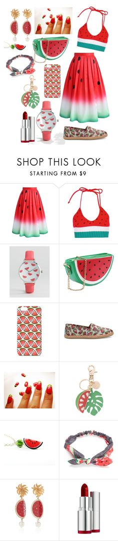 """Watermelon Obsession"" by chloetill ❤ liked on Polyvore featuring Chicwish, Boohoo, ASOS, TOMS, See by Chloé, Red Camel, Dolce&Gabbana and Clarins"