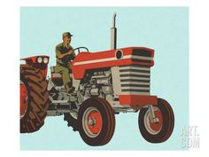 Farmer Driving a Tractor