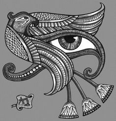 In Egyptian mythology Horus is the hawk-headed god who was born to Isis. He and she are often shown in statues in a way echoed much later by those of Mary with the baby Jesus. Like Jesus, Horus is the product of divine conception.  The Eye of Horus was a symbol for resurrection, power, protection and health!