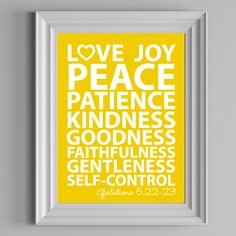 """Free """"Fruit of the Spirit"""" wall art printable from thediymommy.com. Love, joy, peace, patience, kindness, goodness, faithfulness, gentleness, self-control."""