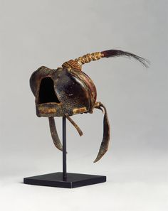 Antique Plumed Leather Falconry Hoods (1800 to 1900 Mongolian / Europeaan)