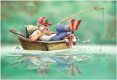 Fishing can be a great stress reliever. Find out more about fishing as a stress relieve, including tips on catching fish and staying safe. Fishing Life, Gone Fishing, Best Fishing, Bass Fishing Pictures, Image Digital, Lesage, Fish Camp, Cat Art, Cartoon Art