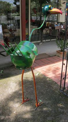 """""""Big Bird"""" Garden Sculpture . made from assorted metal items . Stands 1.56 m high x 1.600 m in width"""