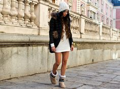Beanie, Dress, Boots