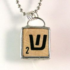 Hebrew Scrabble Letter Pendant by XOHandworks $20