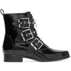 Alexander McQueen Studded glossed-leather ankle boots (2,305 ILS) ❤ liked on Polyvore featuring shoes, boots, ankle booties, обувь, black studded flats, black ankle booties, pointy-toe flats, short black boots and black flats