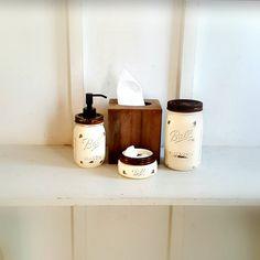 Rustic Mason Jar Bathroom Set. 4 Piece. Wood Tissue Box Cover.Distressed Wood.CREME. Farmhouse Bathroom Decor. Rustic Bathroom Accents by Kksmercantile on Etsy
