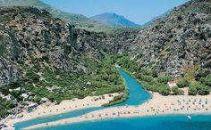 Kourtaliotiko Gorge In Rethymno, that ends in the amazing beach of Preveli Crete Island Greece, Greece Islands, Palm Beach, Beach Fun, Crete Rethymnon, Crete Beaches, Crete Holiday, City By The Sea, Greece Travel