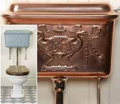 The High Level Cistern with copper tank Victorian Toilet, Victorian Parlor, Victorian Life, Victorian Bathroom, Tumbleweed Tiny Homes, Tiny House Company, Toilet Cistern, Beautiful Homes, House Beautiful
