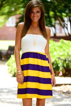 The Kickoff Dress, Purple/Gold