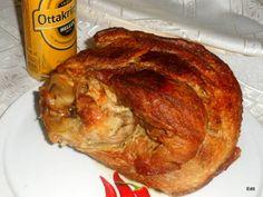 Hőálló tálban sült sörös csülök Croatian Recipes, French Toast, Pork, Turkey, Chicken, Cooking, Breakfast, Serbian, Kale Stir Fry