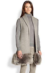 Ralph Lauren Collection Shearling-Trim Sleeveless Cardigan