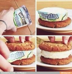 Make Easy Ice Cream Sandwich...who would have ever thought of this!!