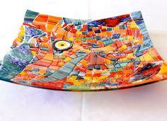 Fusionglass Plate, Handmade,  33 cm x 33 cm, Fused Glass, multi color, wall art, home  decor, fruit plate