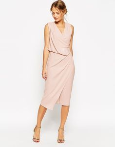 ASOS COLLECTION ASOS WEDDING Wrap Drape Midi Dress