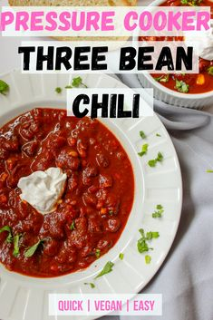 Easy to make vegan dinner idea for a busy weeknight. High in protein and fiber. Gluten free and dairy free recipe. Quick and easy vegan recipe idea. Vegan Weeknight Meals, Quick Vegetarian Meals, Three Bean Chili Recipe, No Bean Chili, Delicious Vegan Recipes, Easy Healthy Recipes, Whole Food Recipes, Easy Vegan Lunch, Vegan Lunches