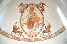 Archimandrite Zenon, Christ in Majesty, 1994.Chevetogne, Belgium.  A resent interpretation of the  Romanesque style.