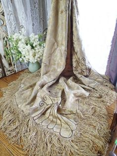Antique Victorian Silk Brocade Embroidered Piano Shawl Lavish Fringe  Vintageblessings