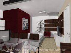 Sala que mistura dois tons de madeira, além de branco, preto e vermelho. http://dicasdearquitetura.com.br/qual-cor-usar-na-parede-da-sala-com-madeira-branco-preto-e-vermelho/