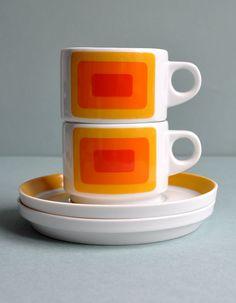Op Art Joy 3 Pair Cups  Rosenthal Studio Linie by MisterTrue