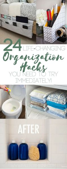 24 Organization Hacks that You Need to Try Immediately! Perfect to get that #springcleaning underway! #organization #hacks #organizationhacks #organizationideas #tidyup